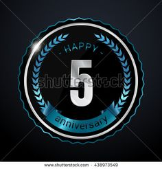 5 Years Silver anniversary logo, low poly design number