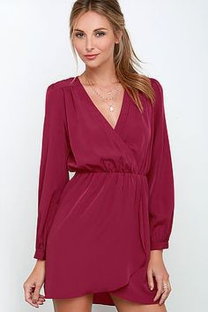 Long sleeve wrap dress in sangria: a rich wine red. 100% Polyester Hand Wash Cold / Hang Or Line Dry