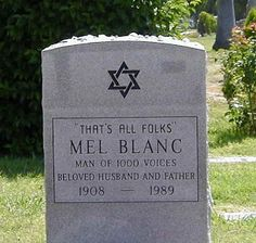 Mel speaks from the grave and still makes us laugh, ahhh the memories of Bugs & Friends, thanks Mel Looney Toons, Hollywood Forever Cemetery, Wheel Of Life, Thats All Folks, Famous Graves, Saturday Morning Cartoons, Famous Stars, Cartoon Tv, Classic Cartoons