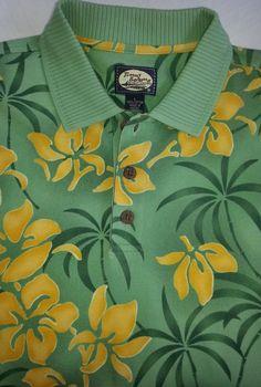 Tommy Bahama Mens Shirt Large Green/Yellow Tropical Polo #TommyBahama #PoloRugby