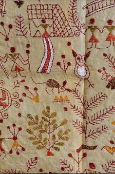 """Kantha embroidery is a type of folk art where worn-out garments are given a second life. Bengali women created the technique several hundred years ago, using old thread to create running stitch designs. The name """"kantha"""" comes from """"kontha,"""" which is the word for """"rags"""" in ancient Sanskrit.  #traditional #embroidery #textiles"""