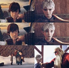 Old, three times their size, bearded guys giving Hiccup and Jack life lessons. DreamWorks is recycling their ideas. Hiccup looks like a munchkin compared to his father…though him and his dad have the same shoe size?