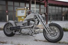 Way cool custom German-made Intruder chopper. Check out the outboard rear (gas?) suspension