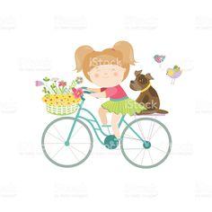 Linda garota linda em um vestido passeios de bicicleta vetor e ilustração royalty-free royalty-free
