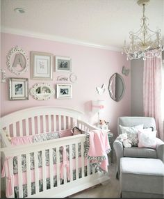 I like the idea of grey and pink but I'd do all grey walls with pink accents