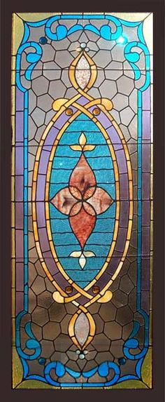 Antique American Victorian Stained Glass Window