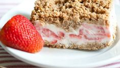 Try Frozen Strawberry Crunch Cake! You'll just need 1 box Nature Valley Granola Bars, cup brown sugar, cup flour, 6 tablespoons melted butter, 2 egg. Frozen Desserts, Just Desserts, Delicious Desserts, Yummy Food, Frozen Cake, Frozen Treats, Dessert Healthy, Summer Desserts, Sweet Recipes