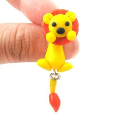 Handmade Lion Fake Gauge Two Part Polymer Clay Stud Earring   DOTOLY