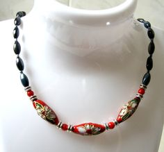 Items similar to Simple Everyday Cloisonne and Shell Bead Short Necklace; Any Occasion Short Necklace Art Deco Style with an Ethnic Touch on Etsy Short Necklace, Beaded Necklace, Necklaces, French Girls, Art Deco Fashion, Fashion Necklace, Ethnic, Shells, Jewelry Making