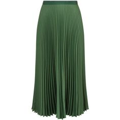 Vanessa Bruno Green Satin Pleated Fasia Skirt (£485) ❤ liked on Polyvore featuring skirts, bottoms, green pleated skirt, pleated skirt, satin pleated skirt, knee length pleated skirt and pleated midi skirt