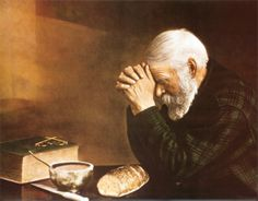 Daily Bread--I have this piece of art framed...my grandparents were mennonite, and this bearded man reminds me of my pious ancestors being thankful for God's blessings.