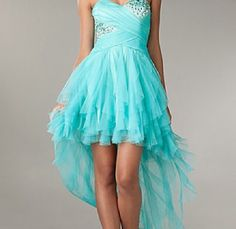 Turquoise ruffle prom dress
