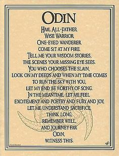 Odin the All Father Prayer Poster Book of Shadows Page Wiccan Pagan Witch