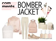 """""""Bomber Jacket"""" by nabillashavira ❤ liked on Polyvore featuring Cameo Rose, River Island, New Balance, Givenchy, Essie, Free People, women's clothing, women, female and woman"""
