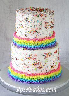 Sprinkles Rainbows Ruffles Birthday Cake