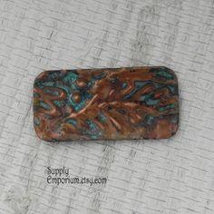 Copper Bracelet Bar Connector or Charm - Hand Stamped Patina Pendant - GV14 - Copper Pendant