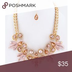 """Stunning Pink Diamond Statement Necklace This statement necklace is just gorgeous!! Fashion jewelry, so not real diamonds obviously. But wow is it stunning! Sparkle from a mile away! Necklace is 18"""" + extension. Comes with jewel dangle earrings   [BUNDLE] for 15% off!  ❌No trades, PayPal, Holds 📷Instagram: @lovelionessie Jewelry Necklaces"""
