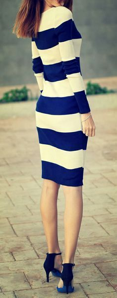 Blue & White Striped Dress summer heels black  fashion clothing women style outfit apparel