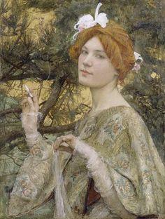 Femme à l'Orchidée, 1900, huile sur toile - Edgard Maxence1, (né Edgar Henri Marie Aristide Maxence2) à Nantes le 17 septembre 1871 et mort à La Bernerie-en-Retz en 1954, est un peintre symboliste français.