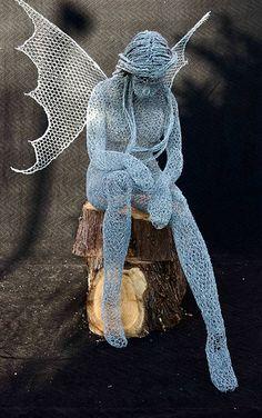 The Wood Cutters Sprite. Wood Sculpture, Garden Sculpture, Wire Sculptures, Sculpture Ideas, Wood Cutter, Unusual Art, Wire Crafts, Wire Art, The Hobbit