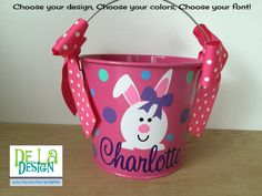 5 QUART Metal bucket personalized with your childs name, initial or monogram in high quality vinyl. Choose your vinyl colors. Item shown is a white