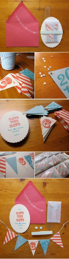 DIY make your own flags invitations. The invitee gets to create the flag to hang to remind them to Save the Date! FUN!!
