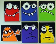 fRENEMiES - set of 6 8x10 original acrylic paintings on canvas, monster art, monster theme, monster room decor. $120.00, via Etsy.