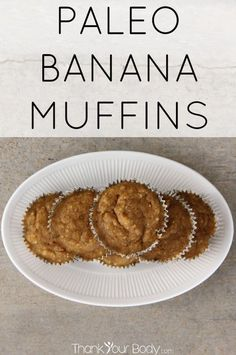 These delicious paleo banana muffins are mostly banana and egg, with a bit of coconut or almond flour. They bake up soft and light. Simple and delicious!