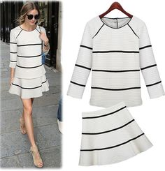 White Quilted Stripe Skirt Outfit Set