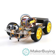 4WD Robot Car Kit for Arduino UNO R3 Smart Project STEM Toys for Kids DIY Ultrasonic obstacle avoidance Track remote control SNAR38 Bluetooth Remote, Arduino Projects, Robot, Diy Car, Diy Kits, Educational Toys, Diy For Kids, Monster Trucks, Coding