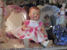 """Antique COMPOSITION Baby Doll w/Painted Facial Features Hair Nice Condition 14"""""""