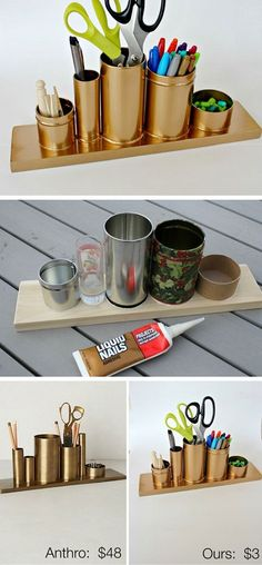 Craft Room Organization & Storage Ideas - For Creative Juice - Home Decor - DIY Gold Pencil Holder. Make this awesome gold pencil or desk holder with crap stuff laying around - Upcycled Crafts, Diy And Crafts, Gold Diy, Diy Rangement, Small Space Storage, Creation Deco, Ideias Diy, Diy Décoration, Diy Dorm Room