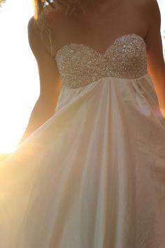 Wedding Dress Boho Beaded Rhinestone Babydoll long by whiteromance