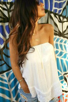 The HONEYBEE // Flowy Tube Top + Layered Necklaces