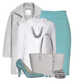 """HUGO Ice Blue Pencil Skirt"" by brendariley-1 ❤ liked on Polyvore featuring MANGO, HUGO, Yves Saint Laurent, Anne Klein, Michael Kors, Luca Valentini, Honora and Natasha Couture"