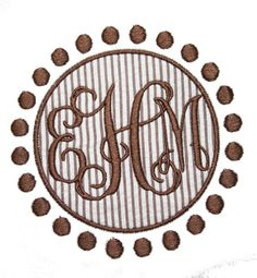 Dots Frame Applique and Machine Embroidery Design, (Intertwined Vine font is NOT included)  size(s): 4x4 & 5x7