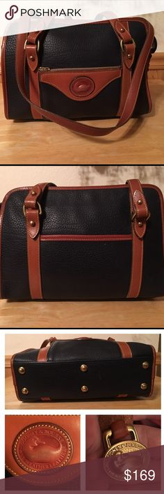 Dooney and Bourke Small Tote Vintage 1996 Dooney and Bourke Small Tote in Navy Blue Pebbled Leather with British Tan Trim and Handles! Inside is impeccable! It has 1 zip, 1 snap pocket, the exterior has a zip pocket in front and slip pocket in back! Don't let the small size throw you it's generous with room! This Blue beauty measures approx 11.25 X 8 X 4.25 double handle drop is approx 13.5 there's a minimal small rub in front of duck and bottom of bag plz see photos no trade price firm…