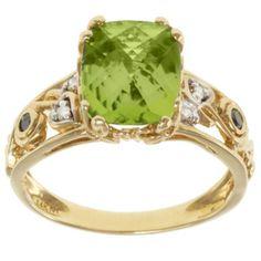 Michael Valitutti 14k Yellow Gold Peridot and Black and White Diamond Ring