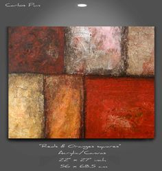 Modern Abstract painting  Reds & Orange by CarlosPunFineArt, $239.00