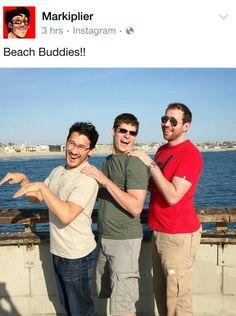 Beach buddies!! Markiplier looks so short! It's so cute!