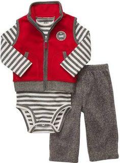 846115e20 Carter's Boys Micro Fleece 3 Piece Vest and Pant Set - Red Months) -  Carters - Babies