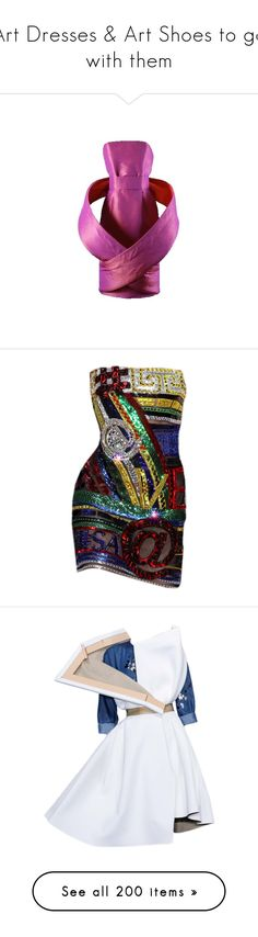 """""""Art Dresses & Art Shoes to go with them"""" by judymjohnson ❤ liked on Polyvore featuring dresses, gowns, doll clothes, versace, versace dresses, babydoll dress, baby doll dress, doll dress, satinee and vestiti corti"""