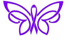 Fibromyalgia Ribbon and Butterfly   FIBROMYALGIA Awareness RIbbon~ Butterfly~Car Truck DECAL~purple