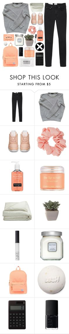 """""""she's a good girl; loves her mama. loves jesus and america too   """" by hey-its-ellie ❤ liked on Polyvore featuring Acne Studios, American Apparel, Reebok, Miss Selfridge, Neutrogena, Sara Happ, Frette, NARS Cosmetics, Laura Mercier and Herschel Supply Co."""