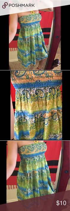 "New Shimmery Paisley Halter Beach Dress Brand New One size fits most Shimmery sequence design Stretch waist Bust: 10"" (relax)- 20""( maximum stretch) Length: 31"" (top to bottom) boutique Dresses Midi"