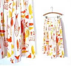 Vintage 1950s Skirt / Mid Century Fish Print by SmallEarthVintage, $54.00