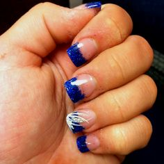 Blue Orchid Wedding Royal Blue Glitter Tipped, Pink Base and Purple Detail on…