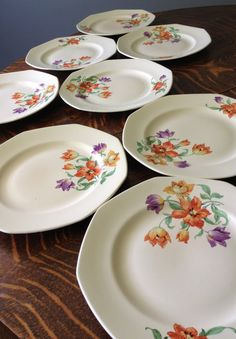 Homer Laughlin octagon dinner plates with purple parrot tulips, orange flowers, set of 8, rare pattern by EvelynsCornerCabinet, $60.00