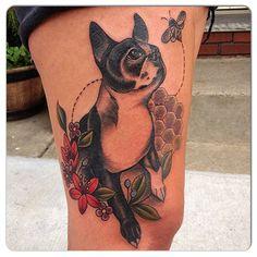 Boston Terrier Tattoo, Boston Tattoo, Boston Terrier Love, Boston Terrior, Ruby Tattoo, Tattoo You, Dog Tattoos, Animal Tattoos, Flower Tat
