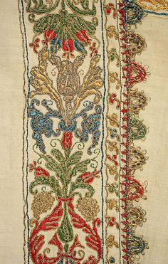 Undershirt, 16th century, Italian - linen, silk and metal thread, embroidery detail.